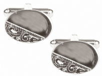 Dalaco 90-3013 Oval Third Engraved Design Rhodium Plate Cufflinks